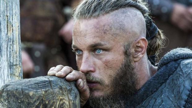 He has had to wear extensions for his role as Ragnar in Vikings during the first season.  (Photo: History)