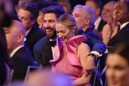 LOS ANGELES, CA - JANUARY 27: Emily Blunt (R) wins Outstanding Performance by a Female Actor in a Supporting Role for 'A Quiet Place' with John Krasinski during the 25th Annual Screen ActorsGuild Awards at The Shrine Auditorium on January 27, 2019 in Los Angeles, California. 480568 (Photo by Kevin Mazur/Getty Images for Turner)