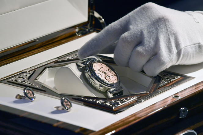 The Patek Philippe Grandmaster Chime watch when it was auctioned in Geneva in 2019.