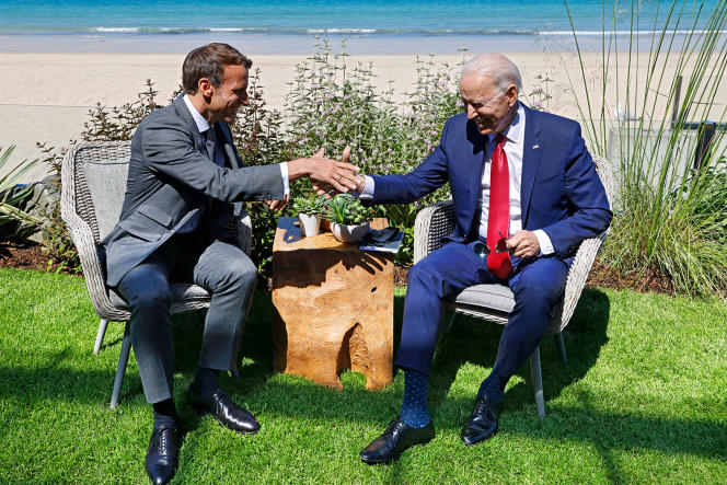 First meeting between Emmanuel Macron and US President Joe Biden, on the occasion of the G7 summit, in Carbis bay, England, on June 12, 2021.