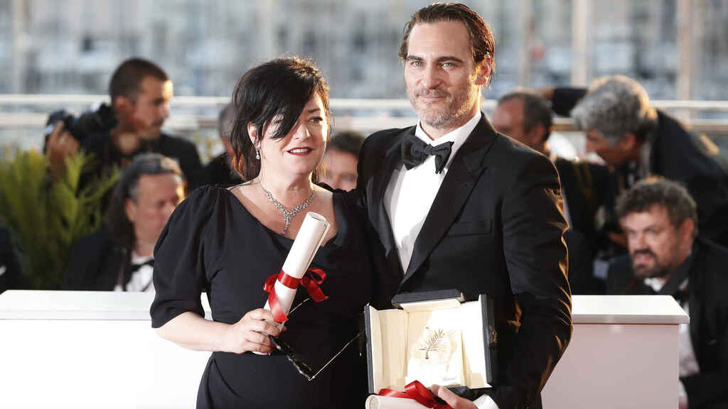 Lynne Ramsay and Joaquin Phoenix on the red carpet at the Cannes Film Festival.