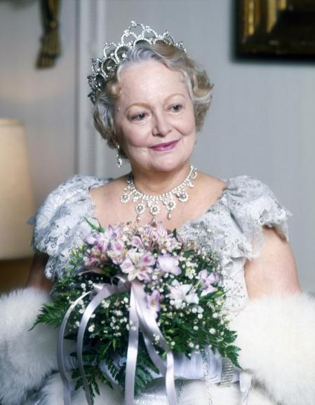 NEW YORK, NY - 1982: Actress Olivia De Havilland, who plays the Queen Mother, on the set of the television movie 'The Royal Romance of Charles and Diana' in 1982 in New York City. (Photo by Peter Carrette Archive/Getty Images)
