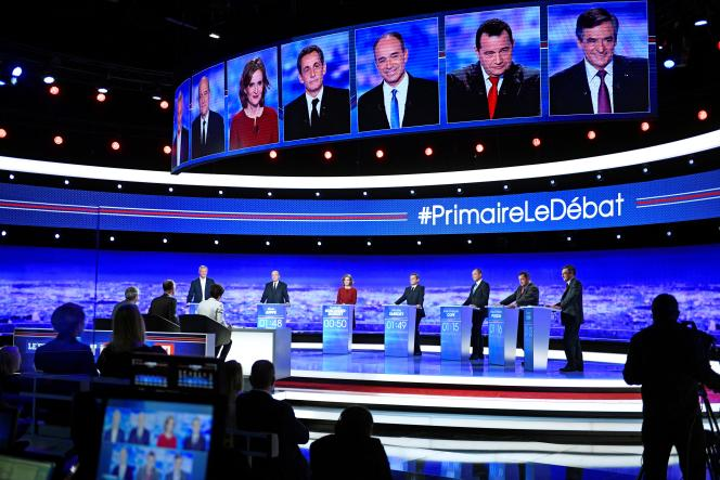The candidates for the primary of the right and the center for the presidential election of 2017, gathered on the set of TF1 on the occasion of their first debate, on October 13, 2016.