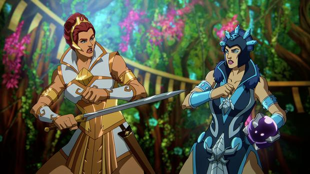 """Teela and Evil Lyn EVIL in a scene from chapter 1 of """" Masters of Universe""""."""