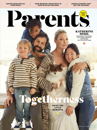 Katherine Heigl and her family on the cover of 'Parents' magazine.