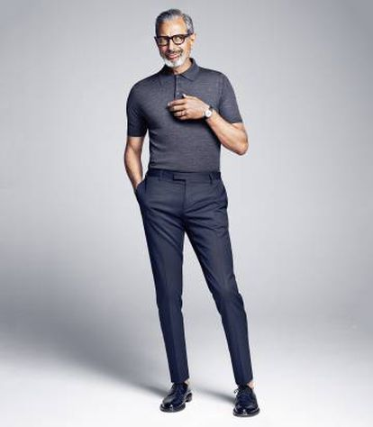 The actor wears a Prada shirt and pants.  Glasses, Tom Ford and Saint Laurent shoes by Hedi Slimane.