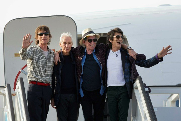 The Fantastic Four.  Mick Jagger, Charlie Watts, Keith Richards and Ron Wood, the Rolling Stones.  Photo (AP / Ramon Espinosa