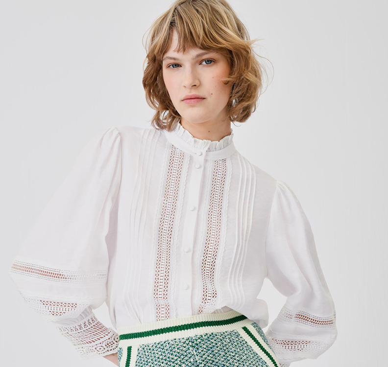 Maje Lace and Pleated Bridal Blouse