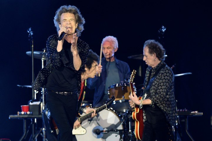 Mick Jagger ,, Charlie Watts and Keith Richards, the hard core of the Rolling Stones.  Photo Bob Self / The Florida Times-Union via AP