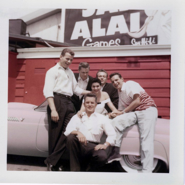 A photo provided by the Scotty Bowers Archive of Bowers, second from right, with friends on Sunset Boulevard in 1956. Photo: The New York Times.