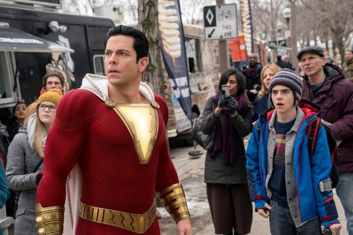 """Zachary Levi and Jack Dylan Grazer at the """"Shazam!""""  original.  Rachel is filming the sequel ... Photo WB"""