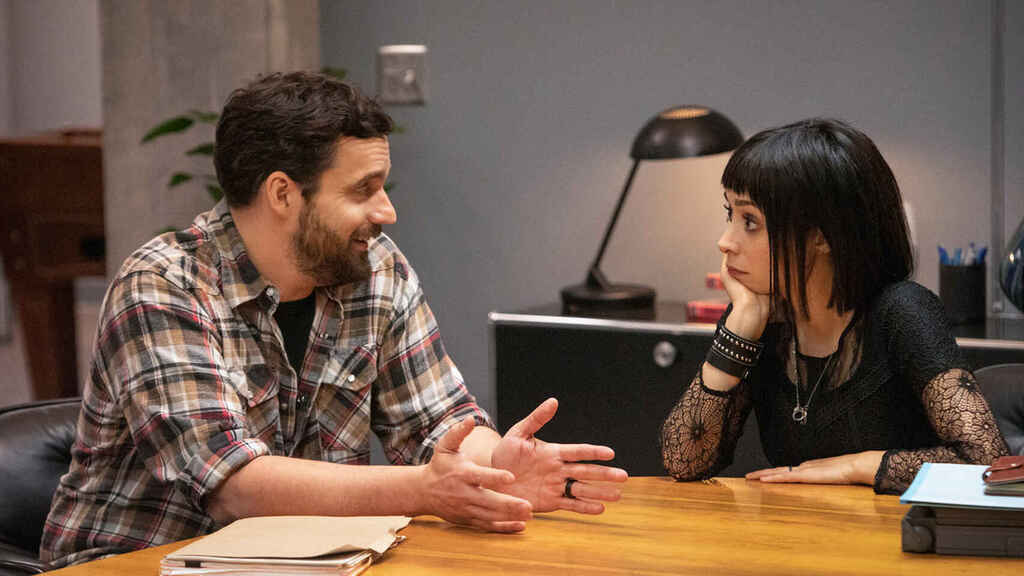 Jake Johnson and Cristin Milioti in 'Dark and Silent Death' ('Mythic Quest' 1x05)