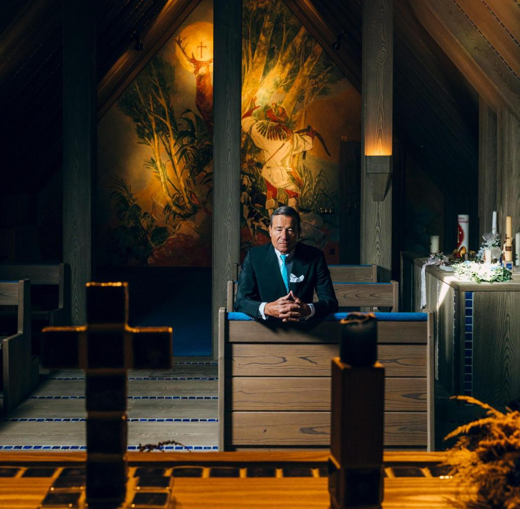 The Trigema boss Wolfgang Grupp in his private house with his own chapel in Burladingen.