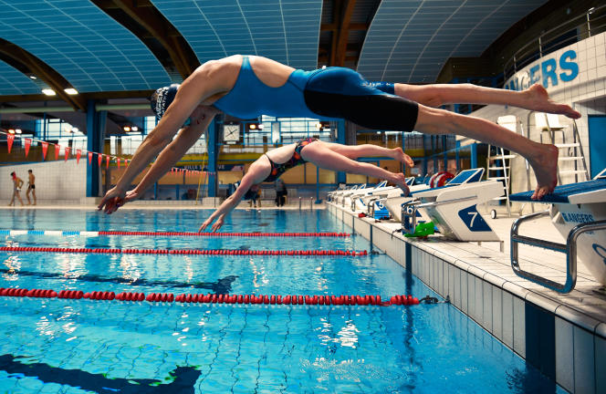 To qualify in Tokyo, the champion swam morning and evening at the Jean-Bouin d'Angers pool, here in February.