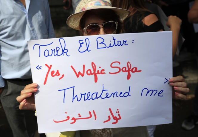 During a demonstration in solidarity with judge Tarek Bitar, in Beirut, on September 29, 2021.