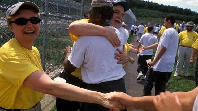American Christians proselytizing prisoners in a New Hampshire jail.