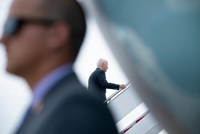 Joe Biden boards Air Force One before departing for the UK and Europe, in Maryland on June 9, 2021.