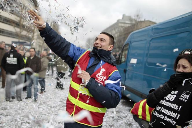 During a demonstration in Rouen (Seine-Maritime) to defend jobs at the Chapelle-Darblay site, February 17, 2014.